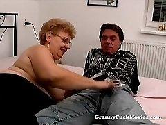 A humungous granny has orgy
