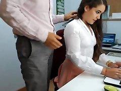hot dark haired secretary frolicking in office 1