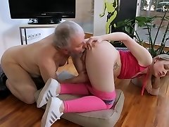 Young small jugs Xxx Old guy and blonde shaved girl