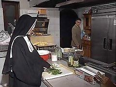 German nun booty-fucked in kitchen