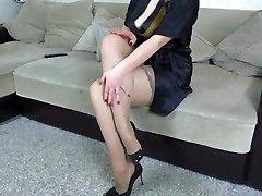 Cum on legs in stockings Sister-in-law