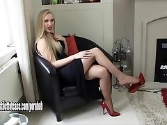 Hot youthfull blond wearing sexual and very erotic high heel shoes