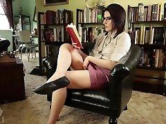 Hot Librarian Type Masturbates Reading Erotica // Hairy Pussy Play Upskirt