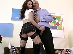 Brunette babe getting vagina pounded by this old guy