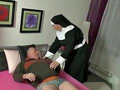 German Bear Chub being satiated by a nun