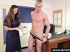 Naughty CFNM British nurse gives handjob to naked dude