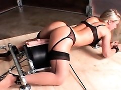 Machine fucked super hot sex slave cumming hard