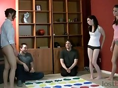 Super-hot amateurs playing strip twister