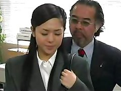 Japanese babe has to put out and fuck for these businessmen