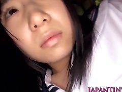 Innocent japanese schoolgirl swallows cum