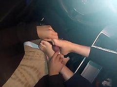 Asian footjob in car