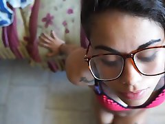 Asian hipster with glasses gives blow job