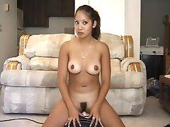 Huge cock from dildo machine fucks tan girl