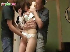 Oriental redhead gets gangbanged in the office conference room