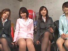 5 Japanese girls give footjob