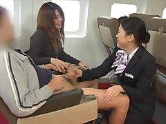 Japanese stewardess handjob - censored