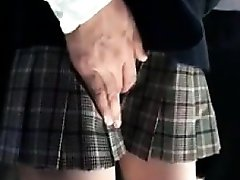 Adorable Asian schoolgirl has a horny guy touching her puss