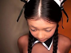 Tiny Japanese maid with tanlines threeway nailed