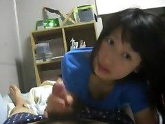 Cute girl Asian Handjob And Blowjob