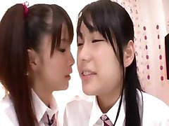 Two Japanese girls trying out some lesbian action for the first time