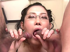Bitchy Asian hottie in glasses Yui Komine blows two hard lollicocks