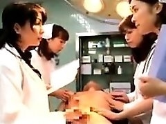 Lustful Japanese doctors putting their hands to work on a t