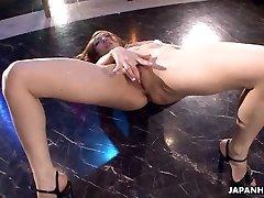Asian stripper getting wild on the pole as she masturbates