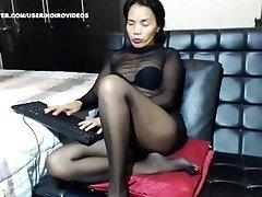 Asian mature black pantyhose feet