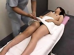 Slim Oriental chick gets her hairy twat fingered and toyed b