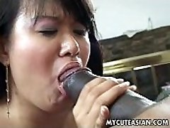 Black dude has a hot Oriental chick to ravage