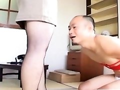 Japanese cougar in stocking feet teasing with subtitles