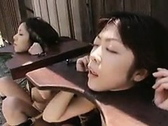 Helpless Oriental ladies getting their mouths tucked with