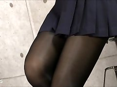 Sexy Asian in Uniform Nylons Pantyhose Soles & Legs