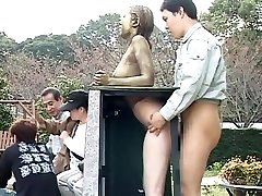 Cosplay Porn: Public Painted Statue Fuck part Four