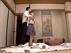 Housewife Yuu Kawakami Pulverized Rock-hard While Another Man Watches