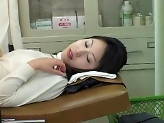 Very uber-cute Asian babe gets a dirty Gyno exam with a toy