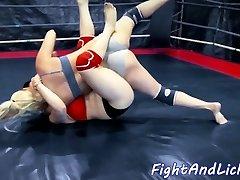 Busty wrestling japanese babe strapon fucked