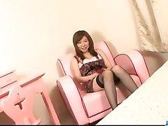 Jummy maid, Aoi Mizumori, pleases two tasty schlongs