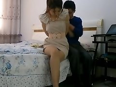 Chinese female restrain bondage tied up and gagged with stockings