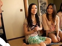 Busty Housewifes Team Up On One Guy And Masturbate Him Off