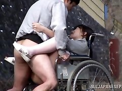 Crazy Japanese nurse gargles cock in front of a voyeur