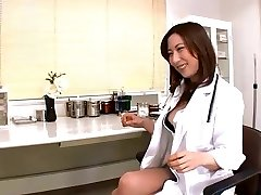 Jpn female doctor plunges objects and finger into peehole