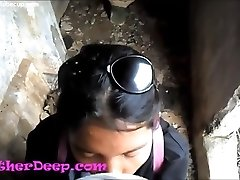 Heather Deep investigates trail in jungle and get creamthroat in abandoned toilet