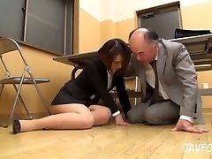 Japanese MILF ass kneaded in the office! her elder boss wants some fresh coochie