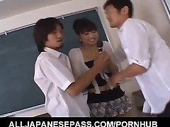 Misato Kuninaka is fucked with sex fucktoys before double teaming