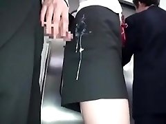 jap girls gets spunk in clothes