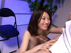 Ugly Japanese babe with her small boobs titty fucks