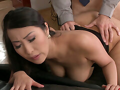 Busty lengthy haired Asian secretary gets inviting gash fucked by horny boss