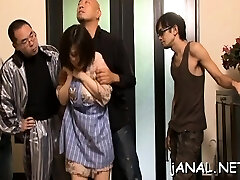 Honey gets asian cum on face after anal dance extreme