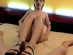 Korean Girl foot jam. Suck & Pulverize, Face cum